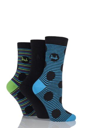 Ladies 3 Pair Pringle Lucy Striped Spots and Plain Cotton Socks