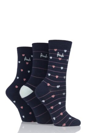 Ladies 3 Pair Rita Hearts and Stripes Pringle Cotton Socks