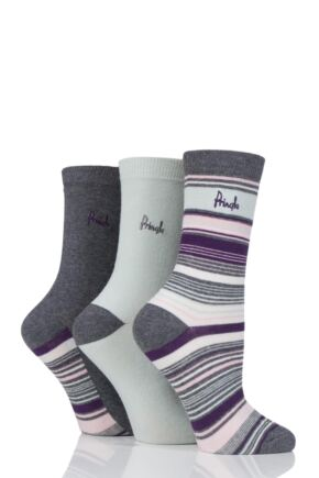 Ladies 3 Pair Pringle Gail Stripes and Plain Cotton Socks