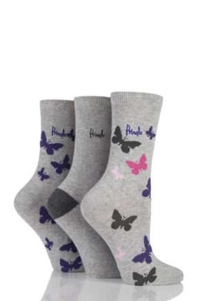 Ladies 3 Pair Pringle Sian Butterfly Patterned Cotton Socks