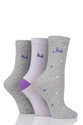 Ladies 3 Pair Pringle Sophie Dots and Plain Cotton Socks