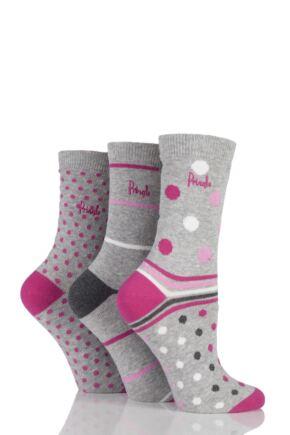 Ladies 3 Pair Pringle Sarah Spotty and Striped Cotton Socks Light Grey 4-8