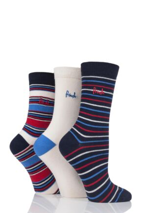 Ladies 3 Pair Pringle Sally Stripe and Plain Cotton Socks