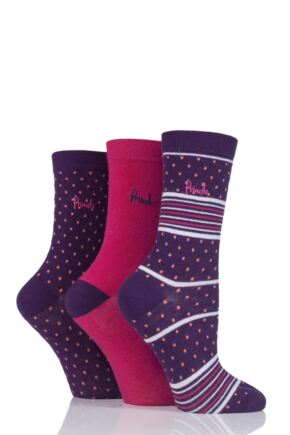 Ladies 3 Pair Pringle Rosie Dots Stripes and Plain Cotton Socks