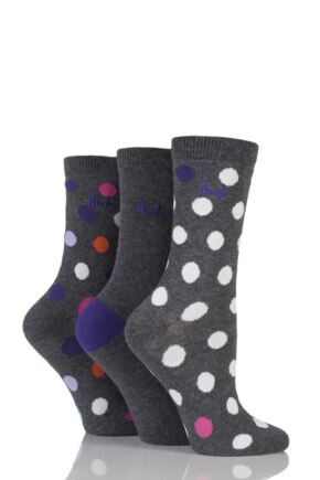 Ladies 3 Pair Pringle Kirsty Plain and Spotty Cotton Socks Charcoal 4-8