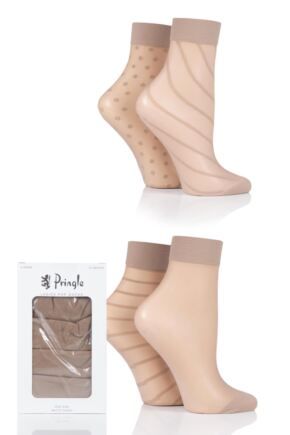 Ladies 4 Pair Pringle Sheer Patterned Pop Socks