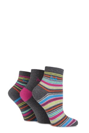 Ladies 3 Pair Pringle Amy Plain and Fine Striped Cotton Ankle Socks Charcoal 4-8