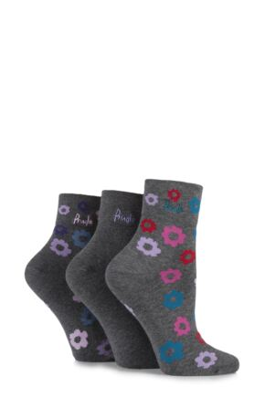Ladies 3 Pair Pringle Tricia Plain and Bright Flower Patterned Cotton Socks Grey 4-8 Ladies