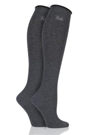 Ladies 2 Pair Pringle Hannah Contrast Cuff Knee High Socks Charcoal