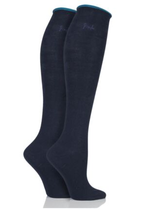 Ladies 2 Pair Pringle Hannah Contrast Cuff Knee High Socks