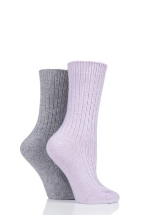 Ladies 2 Pair Pringle Cashmere Blend Luxury Ribbed Socks