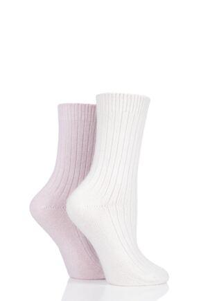 Ladies 2 Pair Pringle Cashmere Blend Luxury Ribbed Socks