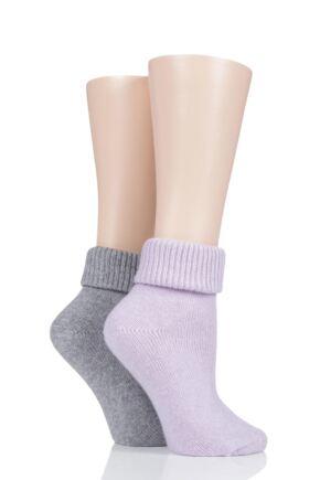 Ladies 2 Pair Pringle Cashmere Blend Luxury Roll Over Socks