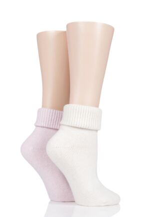 Ladies 2 Pair Pringle Cashmere Blend Luxury Roll Over Socks