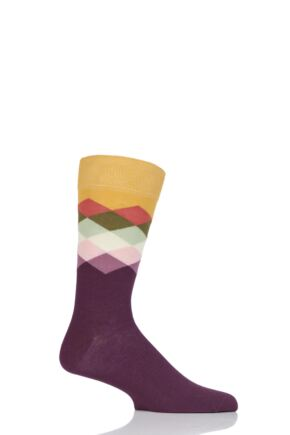 Mens and Ladies 1 Pair Happy Socks Faded Diamond Combed Cotton Socks Burgundy 7.5-11.5 Unisex