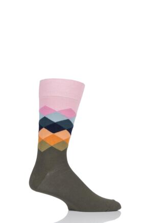 Mens and Ladies 1 Pair Happy Socks Faded Diamond Combed Cotton Socks Olive 4-7 Unisex