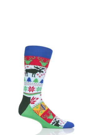 Mens and Ladies 1 Pair Happy Socks Fairisle Cotton Socks
