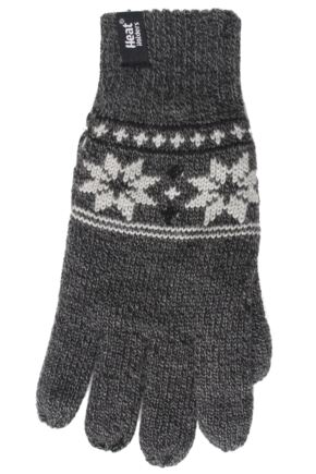 Mens 1 Pair Heat Holders 2.3 Tog Fairisle Gloves In Grey Grey L/XL