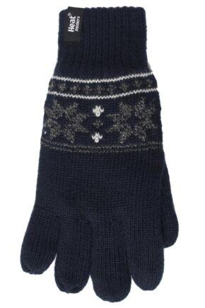 Mens 1 Pair Heat Holders 2.3 Tog Fairisle Gloves In Navy