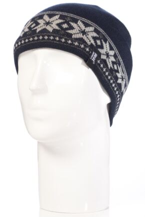Mens 1 Pack Heat Holders 3.4 Tog Fairisle Hat In Navy
