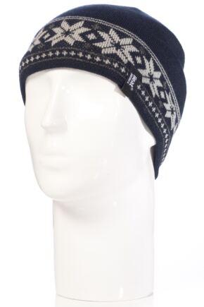 Mens 1 Pack Heat Holders 3.4 Tog Fairisle Hat In Navy