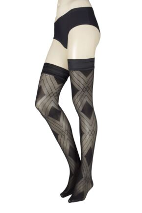 Ladies 1 Pair Trasparenze Fata Diamond Hold Ups