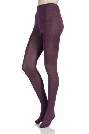 Ladies 1 Pair Elle Plain Bamboo Tights Purple Raven / Dawn Pink Twisted Medium / Large