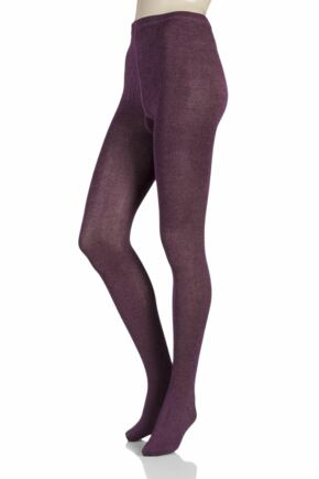 Ladies 1 Pair Elle Plain Bamboo Tights Purple Raven / Dawn Pink Twisted Small / Medium
