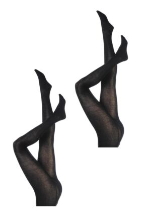 Ladies 2 Pair Elle Plain Bamboo Tights