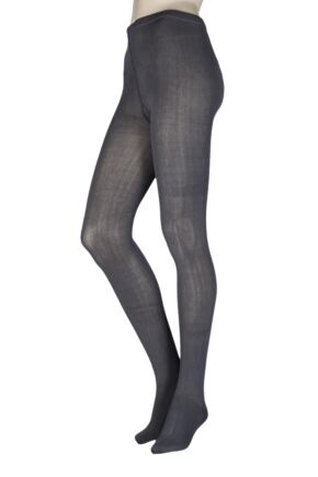 Ladies 1 Pair Elle Plain Bamboo Tights Charcoal S/M