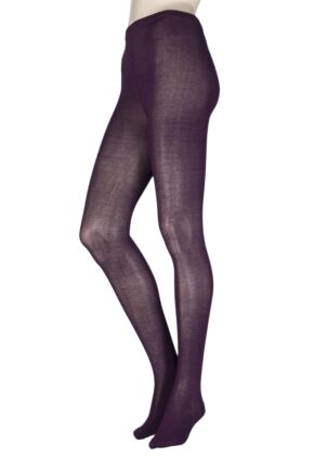 Ladies 1 Pair Elle Plain Bamboo Tights Liquorice S/M