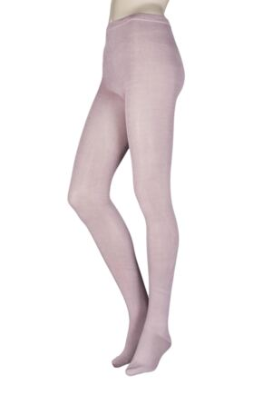 Ladies 1 Pair Elle Plain Bamboo Tights - Sale Powder Pink M/L