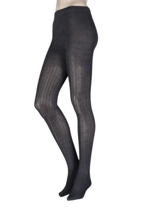 Ladies 1 Pair Elle Ribbed Bamboo Tights Charcoal Twist M/L