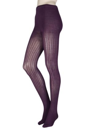 Ladies 1 Pair Elle Ribbed Bamboo Tights Liquorice S/M