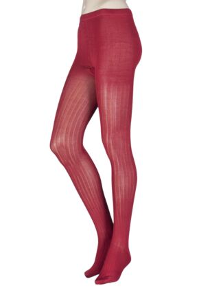 Ladies 1 Pair Elle Ribbed Bamboo Tights Smoked Paprika S/M