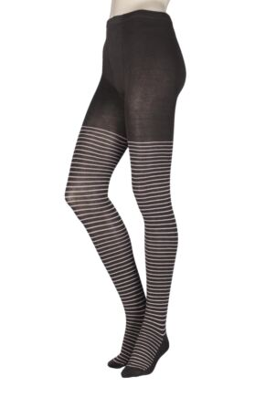 Ladies 1 Pair Elle Winter Soft Stripe Tights