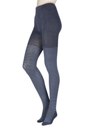 Ladies 1 Pair Elle Winter Soft Stripe Tights Carbon Frame S/M