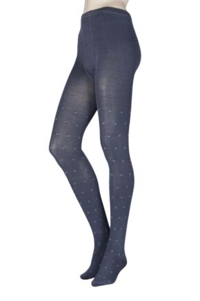 Ladies 1 Pair Elle Pattern Warm and Soft Winter Tights Carbon Frame S/M
