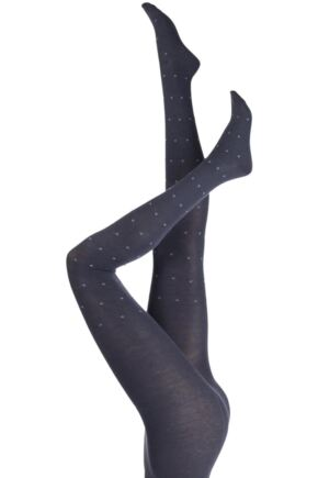 Ladies 1 Pair Elle Winter Soft Diamond Patterned Tights Carbon Frame S/M