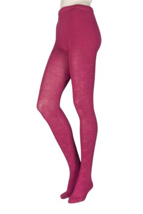 Ladies 1 Pair Elle Floral Bloom Tights Plum M/L