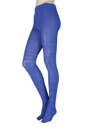 Ladies 1 Pair Elle Block Fair Isle Patterned Tights Lavender Field S/M