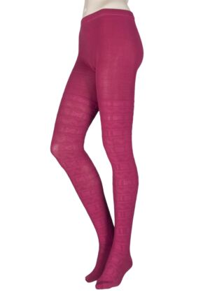 Ladies 1 Pair Elle Block Fair Isle Patterned Tights Plum M/L