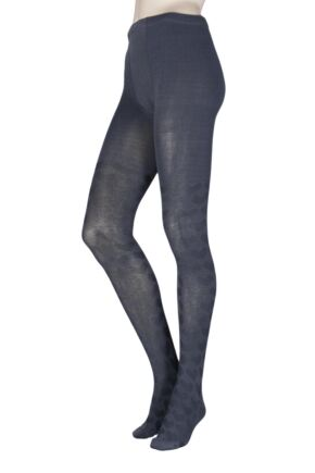 Ladies 1 Pair Elle Winter Soft Heart Patterned Tights Carbon Frame M/L
