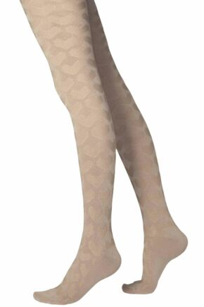 ELLEWINTER SOFT HEART PATTERNED TIGHTS