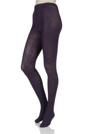 Ladies 1 Pair Elle Diamond Tile Patterned Tights Purple Raven Small / Medium