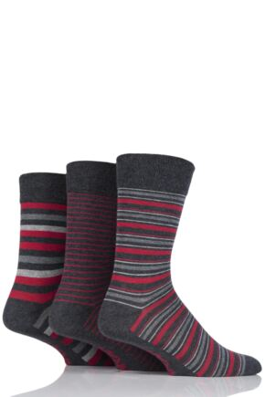 Mens 3 Pair Farah Classic Deluxe Striped Cotton Socks