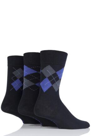 Mens 3 Pair Farah Classic Deluxe Argyle Cotton Socks Black/Grey Argyle 6-11 Mens