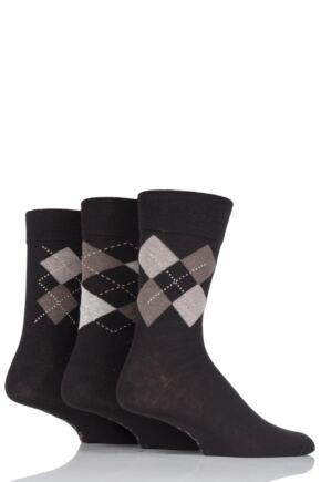 Mens 3 Pair Farah Classic Deluxe Argyle Cotton Socks Brown 6-11 Mens