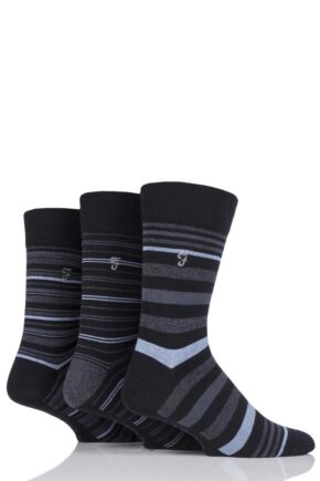 Mens 3 Pair Farah Classic Luxury Stripe Cotton Socks Black Stripe 6-11 Mens
