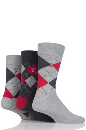 Mens 3 Pair Farah Luxury Argyle Cotton Socks Grey 6-11 Mens